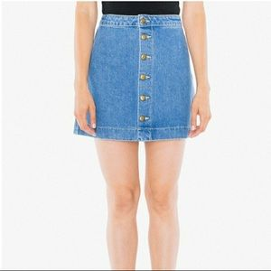 American Apparel Button Front A-Line Skirt